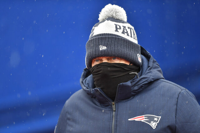 New England Patriots head coach Bill Belichick takes the field before an NFL football game against the Buffalo Bills Sunday, Nov. 1, 2020, in Orchard Park, N.Y. (AP Photo/Adrian Kraus)