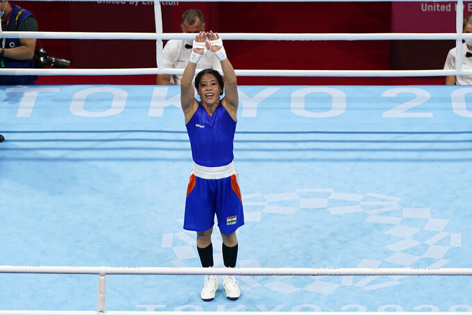India's Chungneijang Mery Kom Hmangte after her women's flyweight 51-kg boxing match against Columbia's Ingrit Lorena Valencia Victoria at the 2020 Summer Olympics, Thursday, July 29, 2021, in Tokyo, Japan. (AP Photo/Frank Franklin II)