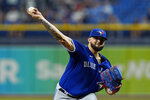 Toronto Blue Jays starting pitcher Alek Manoah delivers to the Tampa Bay Rays during the first inning of a baseball game Tuesday, Sept. 21, 2021, in St. Petersburg, Fla. (AP Photo/Chris O'Meara)