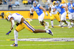 LSU safety Todd Harris Jr. (4) makes an interception against Mississippi in the first half of an NCAA college football game in Baton Rouge, La., Saturday, Dec. 19, 2020. (AP Photo/Matthew Hinton)