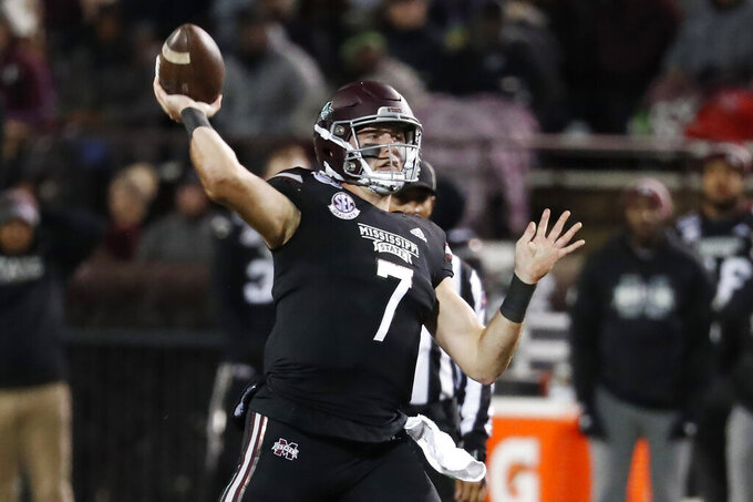 Mississippi State quarterback Tommy Stevens (7) passes against Abilene Christian during the first half of an NCAA college football game, Saturday, Nov. 23, 2019, in Starkville, Miss. (AP Photo/Rogelio V. Solis)