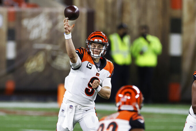 Cincinnati Bengals quarterback Joe Burrow throws a pass during the first half of the team's NFL football game against the Cleveland Browns, Thursday, Sept. 17, 2020, in Cleveland. (AP Photo/Ron Schwane)