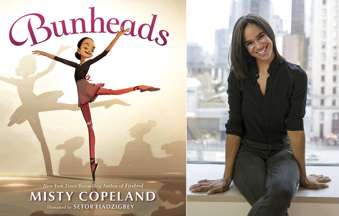 """This combination photo shows """"Bunheads"""" a children's book by Misty Copeland, left, and Copeland during a portrait session in New York on Nov. 19, 2019. Copeland's new picture book comes out Tuesday, Sept 29. (G. P. Putnam's Sons Books for Young Readers via AP, left, and AP)"""