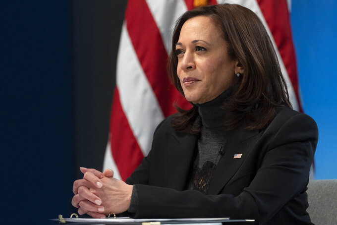 FILE _ In this Feb. 18, 2021, file photo, Vice President Kamala Harrisholds a videoconference in Washington.  Harris will address California Democratic Party activists on Saturday, May 1, 2021, her first time speaking at the party's annual convention as the second highest office holder in the country. She previously served as one of the state's U.S. senators. (AP Photo/Jacquelyn Martin, File)