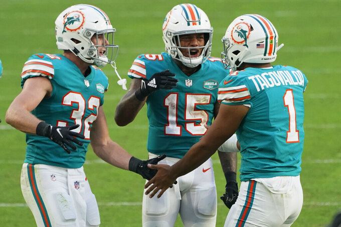 Miami Dolphins running backs Patrick Laird (32) and Lynn Bowden (15) congratulate quarterback Tua Tagovailoa (1) after Tagovailoa scored a touchdown during the second half of an NFL football game against the Kansas City Chiefs, Sunday, Dec. 13, 2020, in Miami Gardens, Fla. (AP Photo/Wilfredo Lee)