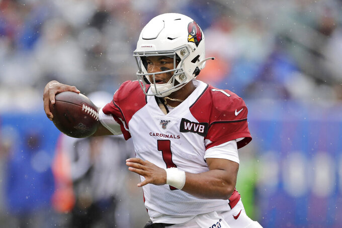 FILE - In this Oct. 20, 2019, file photo, Arizona Cardinals quarterback Kyler Murray is shown during the first half of an NFL football game against the New York Giants, in East Rutherford, N.J. Six months after Kyler Murray was drafted No. 1 by Arizona one spot ahead of him, San Francisco defensive end Nick Bosa gets his opportunity to chase Murray down when the 49ers visit the Cardinals this week. (AP Photo/Adam Hunger, File)