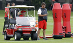 Tampa Bay Buccaneers head coach Bruce Arians, left, seated, talks to general manager Jason Licht during the team's NFL football rookie camp Friday, May 10, 2019, in Tampa, Fla. (AP Photo/Chris O'Meara)