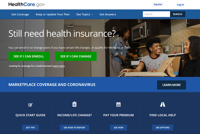 This screen grab from the website shows the main web page for the HealthCare.gov. HealthCare.gov's market for subsidized health plans reopens Monday, Feb. 15, 2021,  for a special three-month sign-up window, as the Democratic-led Congress weighs legislation that could cut premiums by double digits for many. (Centers for Medicare and Medicaid Services via AP, File)