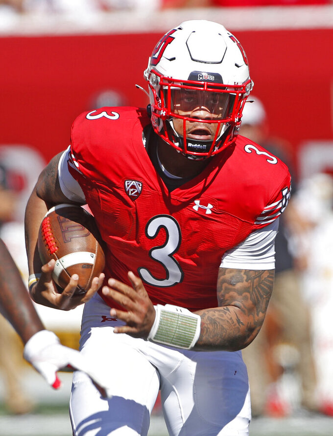 Utah quarterback Ja'Quinden Jackson (3) runs the ball in the second half, of an NCAA college football game against Washington State Saturday, Sept. 25, 2021, in Salt Lake City. (AP Photo/George Frey)