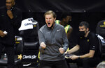 Oregon coach Dana Altman yells to  the team during the second half of an NCAA college basketball game against Colorado on Thursday, Feb. 18, 2021, in Eugene, Ore. (AP Photo/Andy Nelson)