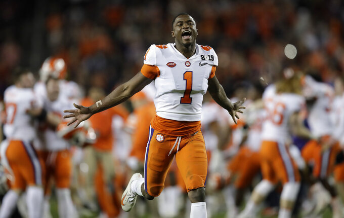 Clemson's Trayvon Mullen celebrates after the NCAA college football playoff championship game against Alabama, Monday, Jan. 7, 2019, in Santa Clara, Calif. Clemson beat Alabama 44-16. (AP Photo/Ben Margot)