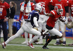 East Wide receiver Terry Godwin II (4), of Georgia, stiff arms West cornerback Jordan Wyatt (23), of SMU, after a reception during the first half of the East West Shrine football game Saturday, Jan. 19, 2019, in St. Petersburg, Fla. (AP Photo/Chris O'Meara)