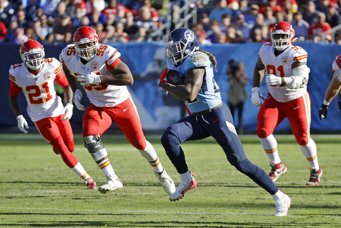 Tennessee Titans running back Derrick Henry (22) runs 68 yards for a touchdown against the Kansas City Chiefs in the second half of an NFL football game Sunday, Nov. 10, 2019, in Nashville, Tenn. (AP Photo/James Kenney)