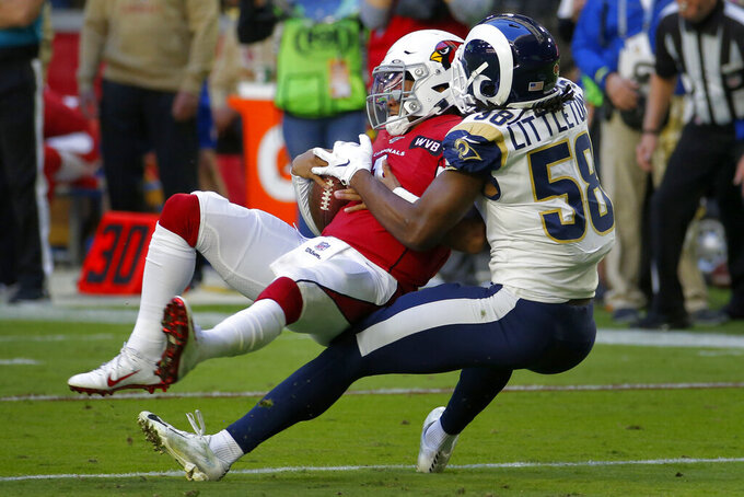 Arizona Cardinals quarterback Kyler Murray (1) is sacked by Los Angeles Rams inside linebacker Cory Littleton (58) during the first half of an NFL football game, Sunday, Dec. 1, 2019, in Glendale, Ariz. (AP Photo/Rick Scuteri)