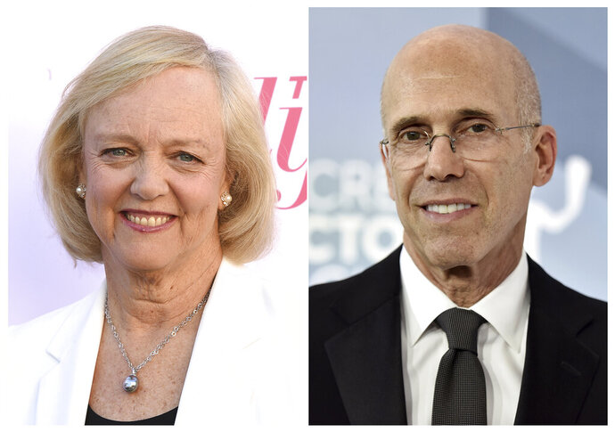 This combination photo shows Meg Whitman at The Hollywood Reporter's Women in Entertainment Breakfast Gala in Los Angeles on Dec. 11, 2019, left, and Jeffrey Katzenberg at the 26th annual Screen Actors Guild Awards in Los Angeles on Jan. 19, 2020. Katzenberg and Whitman are bringing Quibi to a phone near you with movies, shows and news served in quick bites. (AP Photo)