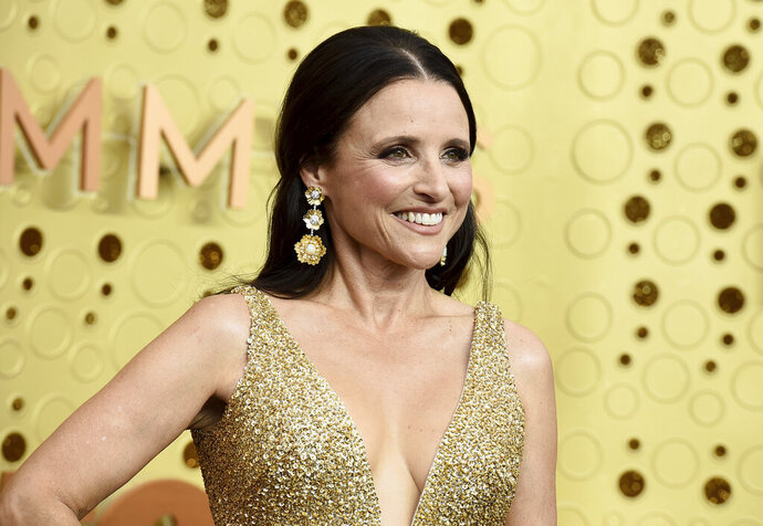 Julia Louis-Dreyfus arrives at the 71st Primetime Emmy Awards on Sunday, Sept. 22, 2019, at the Microsoft Theater in Los Angeles. (Photo by Jordan Strauss/Invision/AP)