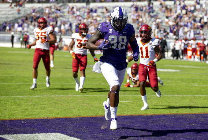 TCU tight end Artayvious Lynn (88) scores a touchdown during an NCAA college football game against Iowa State on Saturday, Sept. 26, 2020 in Fort Worth, Texas. Iowa won 37-34. (AP Photo/Brandon Wade)