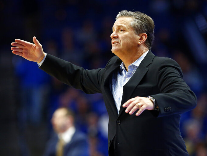 Kentucky head coach John Calipari directs his team during the second half of an NCAA college basketball game against Mount St. Mary's in Lexington, Ky., Friday, Nov. 22, 2019. Kentucky won 82-62. (AP Photo/James Crisp)