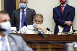 Rep. Jim Jordan, R-Ohio, listens during a House Judiciary subcommittee hearing on antitrust on Capitol Hill on Wednesday, July 29, 2020, in Washington. (Graeme Jennings/Pool via AP)