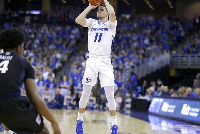 Creighton's Marcus Zegarowski (11) shoots during the second half of an NCAA college basketball game against Butler in Omaha, Neb., Sunday, Feb. 23, 2020. (AP Photo/Nati Harnik)