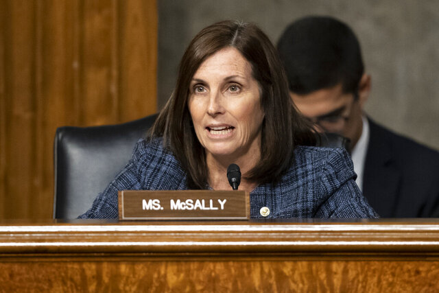 FILE - In this Tuesday, Dec. 3, 2019 file photo Sen. Martha McSally, R-Ariz., speaks during a hearing of the Senate Armed Services Committee in Washington, on Capitol Hill. McSally has not been convinced that President Donald Trump should be removed from office, her campaign manager said Monday, Dec. 16, in the most direct explanation of her position on a question she's dodged for months. (AP Photo/Alex Brandon, File)