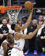 Team Giannis' Giannis Antetokounmpo, of the Milwaukee Bucks dunks against Team LeBron during of the first half of an NBA All-Star basketball game, Sunday, Feb. 17, 2019, in Charlotte, N.C. (AP Photo/Gerry Broome)