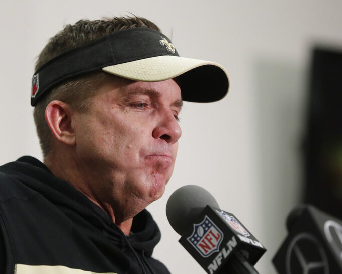 New Orleans Saints head coach Sean Payton speaks during a news conference after overtime of the NFL football NFC championship game against the Los Angeles Rams, Sunday, Jan. 20, 2019, in New Orleans. The Rams won 26-23.(AP Photo/Gerald Herbert)