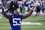 Indianapolis Colts' Darius Leonard celebrates as he leaves the field during the second half of an NFL football game against the Jacksonville Jaguars, Sunday, Jan. 3, 2021, in Indianapolis. (AP Photo/AJ Mast)
