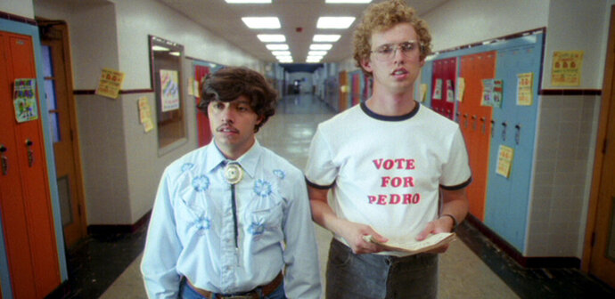 This 2004 photo provided by Twentieth Century Fox and Paramount Pictures shows Jon Heder, as Napoleon Dynamite, right, and Efren Ramirez, as Pedro, in a scene from the cult classic comedy