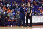 Duke head coach Mike Kryzewski speaks to an official during the first half of an NCAA college basketball game against Clemson Tuesday, Jan. 14, 2020, in Clemson, S.C. (AP Photo/Richard Shiro)