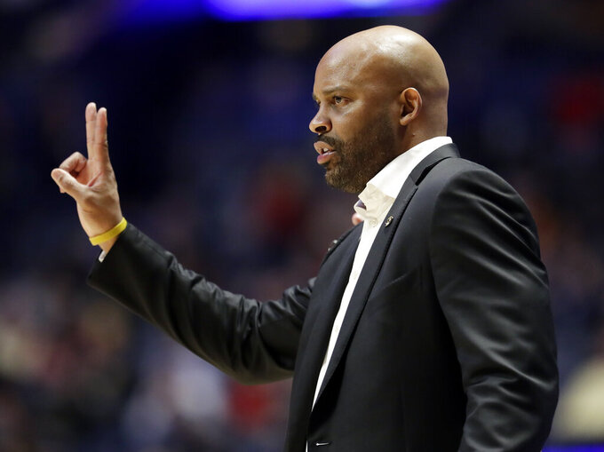 Missouri head coach Cuonzo Martin signals to his players in the second half of an NCAA college basketball game against Georgia at the Southeastern Conference tournament, Wednesday, March 13, 2019, in Nashville, Tenn. Missouri won 71-61. (AP Photo/Mark Humphrey)