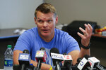 Indianapolis Colts general manager Chris Ballard talks about the status of players during an availability before the start of the NFL team's football training camp in Westfield, Ind., Wednesday, July 24, 2019. (AP Photo/Michael Conroy)
