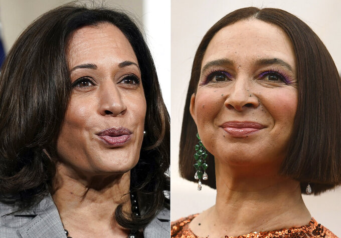 This combination photo shows Democratic vice presidential candidate Sen. Kamala Harris, left, D-Calif., at Shaw University during a campaign visit in Raleigh, N.C., on Sept. 28, 2020, and actress Maya Rudolph at the Oscars in Los Angeles on Feb. 9, 2020. (AP Photo)
