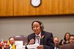 FILE - New Mexico Sen. John Pinto addresses the Senate chambers on the first day of the state Legislature at the New Mexico Capitol in Santa Fe, N.M., Tuesday, Jan. 16, 2018. Pinto, one of the nation's longest serving Native American elected officials, has died at age 94. (AP Photo/Juan Labreche, File)