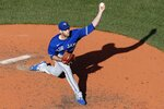 Toronto Blue Jays' Steven Matz pitches during the fifth inning of a baseball game against the Boston Red Sox, Saturday, June 12, 2021, in Boston. (AP Photo/Michael Dwyer)