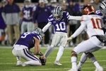 Kansas State placekicker Blake Lynch (10) boots a field goal during the second half of an NCAA college football game against Iowa State in Manhattan, Kan., Saturday, Nov. 30, 2019. (AP Photo/Orlin Wagner)