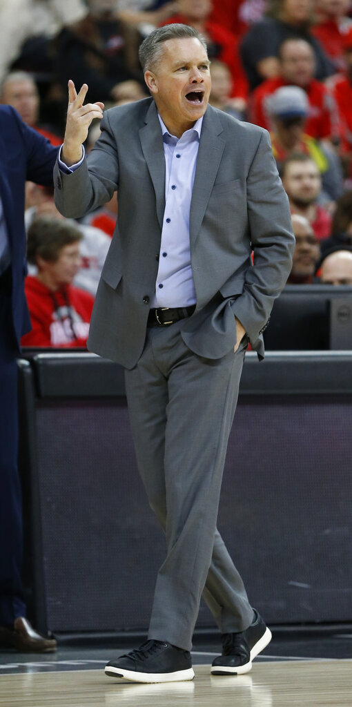 Ohio State head coach Chris Holtmann shouts to his team against Southeast Missouri State during the second half of an NCAA college basketball game Tuesday, Dec. 17, 2019, in Columbus, Ohio. Ohio State defeated Southeast Missouri State 80-48. (AP Photo/Jay LaPrete)