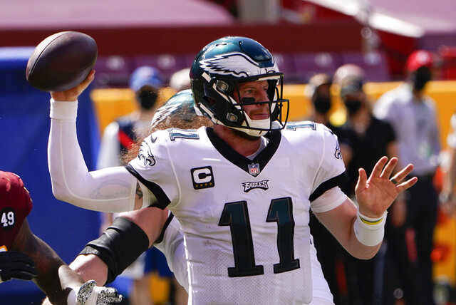 Philadelphia Eagles quarterback Carson Wentz looks to pass the ball against the Washington Football Team during the first half of an NFL football game, Sunday, Sept. 13, 2020, in Landover, Md. (AP Photo/Susan Walsh)