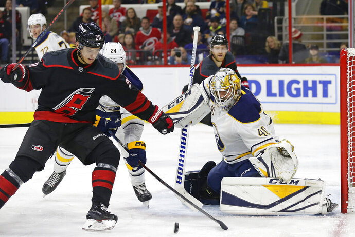 Carolina Hurricanes' Sebastian Aho (20), of Finland, looks for a shot on goal in front of Buffalo Sabres goalie Carter Hutton (40) during the second period of an NHL hockey game in Raleigh, N.C., Friday, Jan. 11, 2019. (AP Photo/Gerry Broome)
