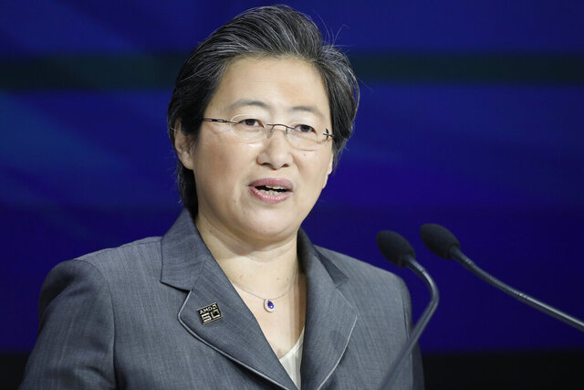 FILE - In this May 1, 2019 photo, Lisa Su, president and CEO of AMD, attends the opening bell at Nasdaq, in New York. The typical pay package for CEOs at the biggest U.S. companies topped $12.3 million in 2019, and the gap between the boss and their workforces widened further, according to AP's annual survey of executive compensation.    (AP Photo/Mark Lennihan, File)
