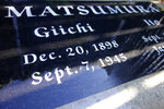 FILE - This Oct. 22, 2019 file photo photo shows a gravestone in Woodlawn Cemetery in Santa Monica, Calif., that commemorates the death of Giichi Matsumura, who died in the Sierra Nevada on a fishing trip while he was at the Japanese internment camp at Manzanar. A skeleton found by hikers this fall near California's second-highest peak was identified Friday, Jan. 3, 2020, as Matsumura, a Japanese American artist who had left the Manzanar internment camp to paint in the mountains in the waning days of World War II. (AP Photo/Brian Melley, File)
