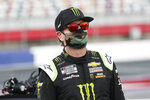 Kurt Busch waits for the start of a NASCAR Cup Series auto race at Charlotte Motor Speedway Thursday, May 28, 2020, in Concord, N.C. (AP Photo/Gerry Broome)