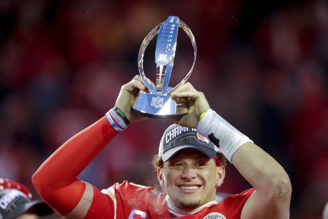 Kansas City Chiefs' Patrick Mahomes celebrates with the Kansas City Chiefs after the NFL AFC Championship football game against the Tennessee Titans Sunday, Jan. 19, 2020, in Kansas City, MO. The Chiefs won 35-24 to advance to Super Bowl 54. (AP Photo/Charlie Riedel)