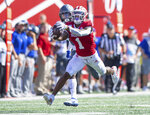 Indiana wide receiver Whop Philyor (1) stretches out to make a catch during the first half of an NCAA college football game against Eastern Illinois Saturday, Sept. 7, 2019, in Bloomington, Ind. (AP Photo/Doug McSchooler)