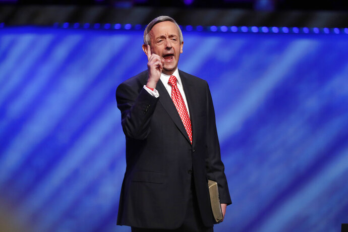 FILE - In this Sunday, June 28, 2020 file photo, Senior Pastor Dr. Robert Jeffress addresses attendees before Vice President Mike Pence speaks at the Southern Baptist megachurch First Baptist Dallas during a Celebrate Freedom Rally in Dallas. Jeffress' church is affiliated with the Southern Baptist Convention, the nation's largest Protestant denomination. Its leadership adopted a stringent anti-abortion stance nearly 40 years ago that remains in place. (AP Photo/Tony Gutierrez)