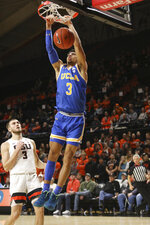 UCLA's Jules Bernard (3) makes it past Oregon State's Tres Tinkle (3) to dunk during the first half of an NCAA college basketball game in Corvallis, Ore., Thursday, Jan. 23, 2020. (AP Photo/Amanda Loman)