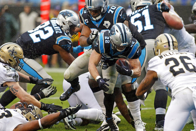 Carolina Panthers running back Christian McCaffrey (22) runs against the New Orleans Saints during the second half of an NFL football game in Charlotte, N.C., Sunday, Dec. 29, 2019. (AP Photo/Brian Blanco)