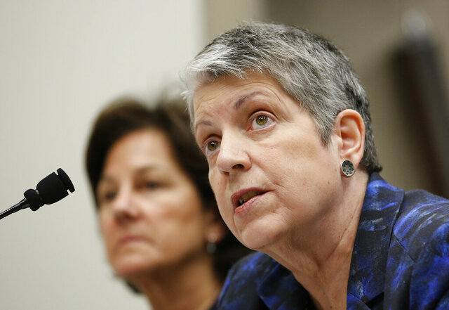 FILE - In this May 2, 2017, file photo, Janet Napolitano responds to a question while appearing before a Joint Legislative Audit Committee in Sacramento, Calif. The University of California will drop the SAT and ACT tests as admission requirements through 2024 and eliminate them for California residents after that, a landmark decision by the prestigious university system. The UC's governing body, the Board of Regents, voted 23-0 Thursday, May 21, 2020 to approve a proposal by Napolitano that phases the tests out over five years, at which point the UC aims to have developed its own test. (AP Photo/Rich Pedroncelli, file)