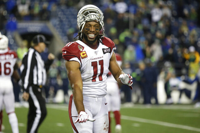 Arizona Cardinals wide receiver Larry Fitzgerald (11) reacts at the end of an NFL football game against the Seattle Seahawks, Sunday, Dec. 22, 2019, in Seattle. (AP Photo/Lindsey Wasson)