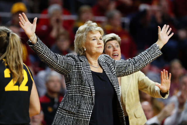 Iowa coach Lisa Bluder reacts to a call during the first half of an NCAA college basketball game against Iowa State, Wednesday, Dec. 11, 2019, in Ames, Iowa. (AP Photo/Charlie Neibergall)